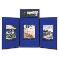 ShowIt Three-Panel Display System, Fabric, Blue/Gray, Black PVC Frame