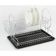 Dish Drainer with Water Tray and Cutlery