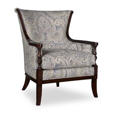 Bristol Linen Carved Wood Arm Chair