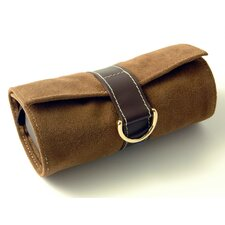 Faux Suede and Leather Jewelry Pouch