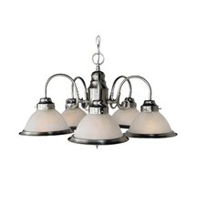 Back To Basics 5 Light Builder Chandelier with Marbleized Glass Shades