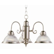 Back To Basics 3 Light Builder Chandelier with Halophane Glass Shades