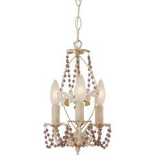 Crystal Flair 3 Light Mini Chandelier with Purple Crystal Beads