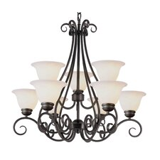 9 Light Chandelier with Marbleized Shade