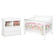 Athena Alice Crib with 2-Drawer Changer Dresser in White
