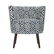 Lily Barrel Chair in Blue & White