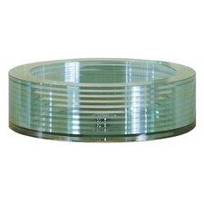 Round Tempered Segmented Glass Vessel Bathroom Sink