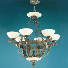 Melilla Six Light Chandelier in Rustic Bronze