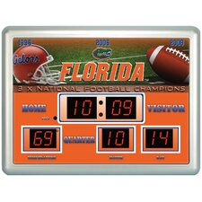 NCAA ScoreBoard Wall Clock with Thermometer