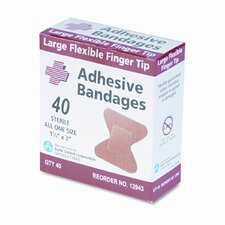 Flexible Large Fingertip Adhesive Bandages, 1-3/4 x 3, 40 per Box