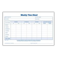 1 Part Weekly Time Sheet (Set of 128)