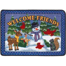 Welcome Friends Blue/White Mat