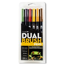 Dual Brush Primary Colors Pen Set (Set of 6)