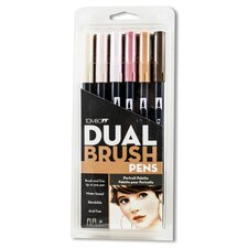 Dual Brush Portrait Colors Pen Set (Set of 6)