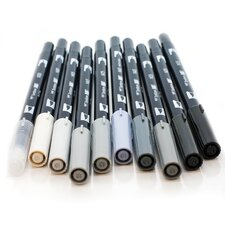 Dual Brush Pen Art Markers, Grayscale (10-Pack)