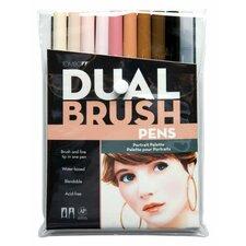 Dual Brush Portrait Pen (Set of 10)