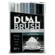 Dual Brush Grayscale Pen (Set of 10)