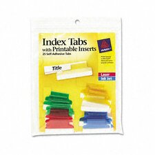 Self-Adhesive Tabs with White Printable Inserts, 1 Inch,, 25/Pack (Set of 2)