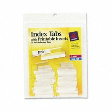 Self-Adhesive Tabs with White Printable Inserts, One Inch, 25/Pack (Set of 2)