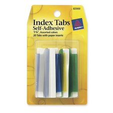 "Index Tabs, Self-Adhesives, Permanent, 1-3/4"", 20 per Pack, Assorted (Set of 3)"
