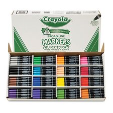 Non-Washable Classpack Broad Point Markers (16 Assorted Colors, 256/Box)