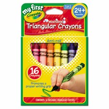 My First Washable Triangular Wax Crayons (16 Pack)