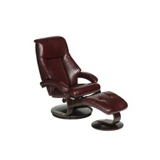 Oslo Top Grain Leather Swivel Recliner and Ottoman