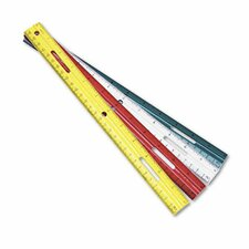 "Ring Binder Hole Plastic Ruler, 12"", Assorted Green/Red/White/Yellow (Set of 6)"