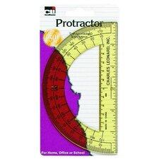 "Protractor, w/ 6"" Ruler, Plastic, Assorted (Set of 7)"