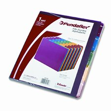 Top Tab File Guides, Alpha, 1/5 Tab, Polypropylene, Letter (Set of 25)