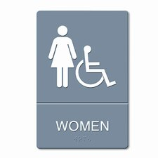 ADA Restroom Sign, Women Wheelchair Accessible Symbol, Molded Plastic, 6 x 9