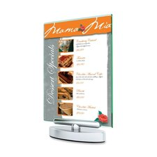 "Swivel Sign Holder, Stand-Up, 5""x7"",Clear"