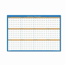 House of Doolittle 12-Month Laminated Wall Planner Whiteboard, 3' H x 2' W