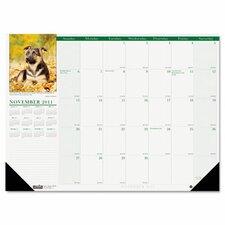 Puppies Photographic Monthly Desk Pad Calendar