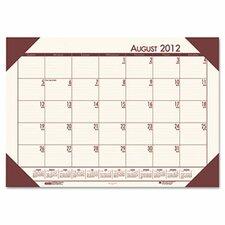 EcoTones Academic Desk Pad Calendar in Cream/ Brown