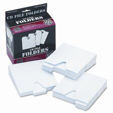 Vaultz CD File Folders with 1/3 Cut Tab and Thumb Notch, White, 100 per Pack