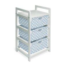 Three Drawer Hamper / Storage Unit in White with Blue Polka Dots
