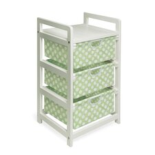 Three Drawer Hamper / Storage Unit in White with Sage Polka Dots