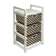 Three Drawer Hamper / Storage Unit in White with Brown Polka Dots