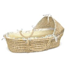 Hooded Moses Basket with Ecru/Beige Gingham Bedding