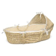 Hooded Moses Basket with Ecru Waffle Bedding