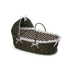 Espresso Hooded Moses Basket with Polka Dot Bedding