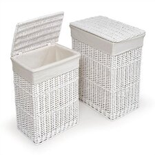 Two Hamper Set with Liners in White