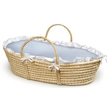 Natural Moses Basket with Blue Gingham Bedding (No hood)