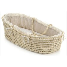 Natural Moses Basket with Ecru or Beige Gingham Bedding (No hood)