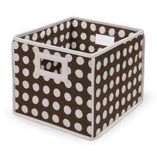 Folding Basket in Brown Polka Dot