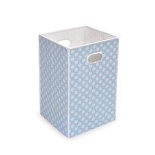 Folding Hamper/Storage Bin in Blue with White Polka Dots