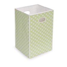 Folding Hamper/Storage Bin in Sage with White Polka Dots