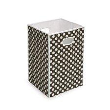 Folding Hamper/Storage Bin in Brown with White Polka Dots