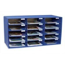 """Mail Box, 15 Slots, 12-1/2""""x10""""x3"""", Blue"""